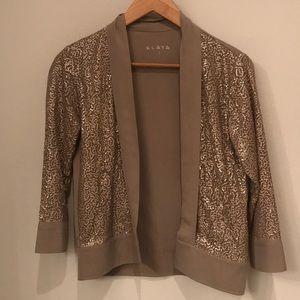 Tan Sequin Open Jacket